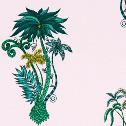 Tissu - Clarke & Clarke - Jungle Palms - Pink