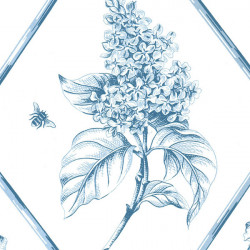 Papier peint - Thibaut - Posy - Blue on White