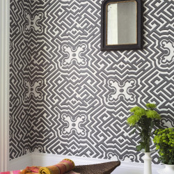 Papier peint - Cole and Son - Palace Maze - Dark Linen & Gilver