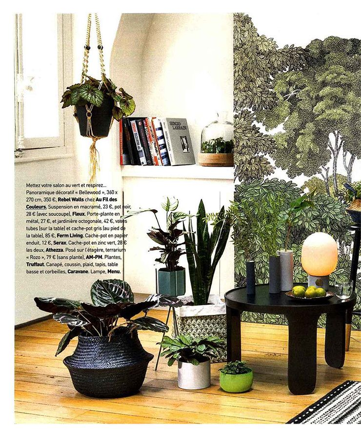 Papier peint Bellewood de la collection Greenhouse de RebelWalls dans la magazine Art & Décoration Avril 2016