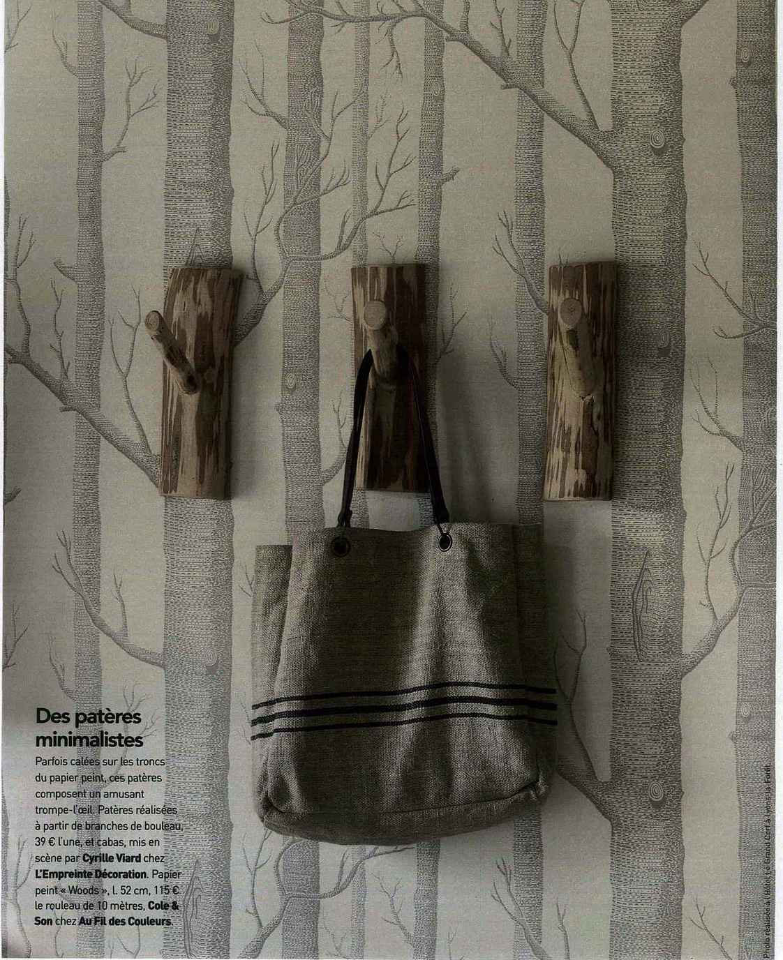 Papier peint Woods de Cole and Son dans le magazine Art&Décoration Octobre 2015