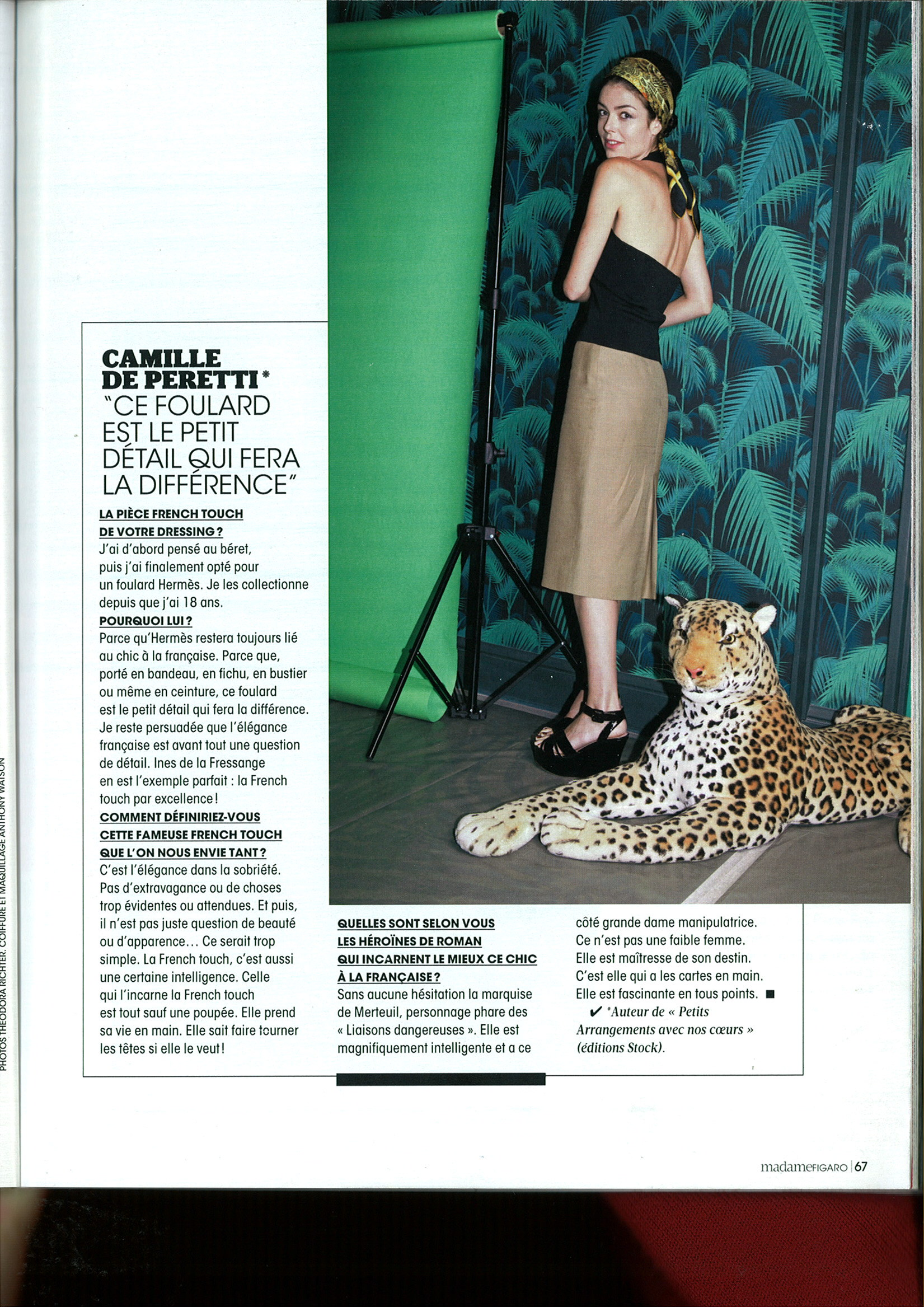 Papier peint Palm Jungle de Cole and Son dans le magazine Madame Figaro Spécial Talents Septembre 2015