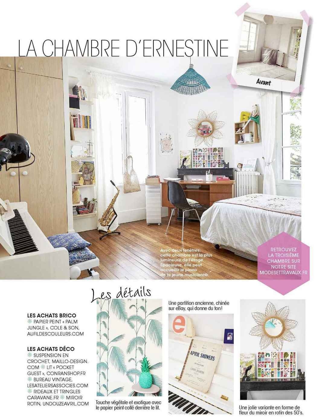 Papier peint Palm Jungle dans le magazine Modes & Travaux Novembre 2015