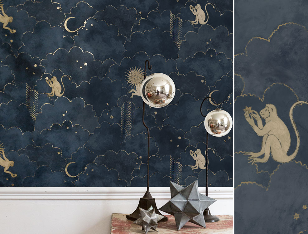 Papier peint Stars and Monkeys Midnight blue - Collection Magic Garden - Au fil des Couleurs