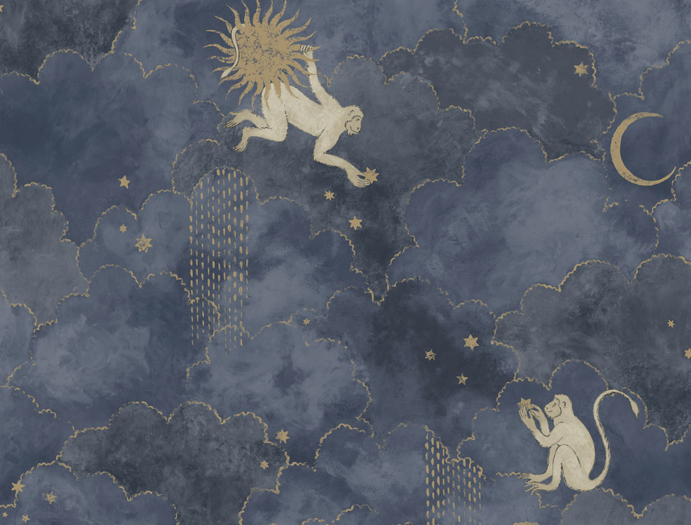 Décor mural Grand Stars and Monkey Midnight Blue - Collection Magic Garden - Au fil des Couleurs