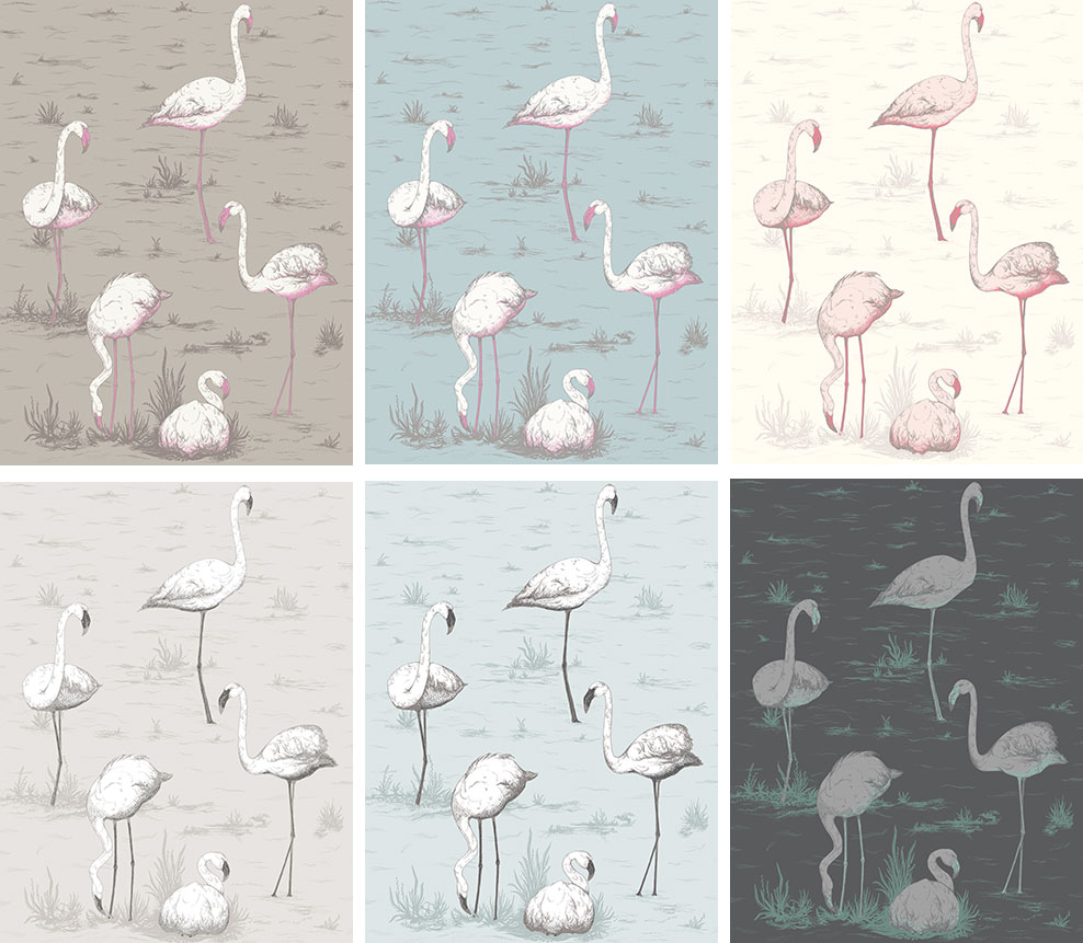 Papier peint Flamants Roses Flamingos - Cole and Son - Au fil des Couleurs