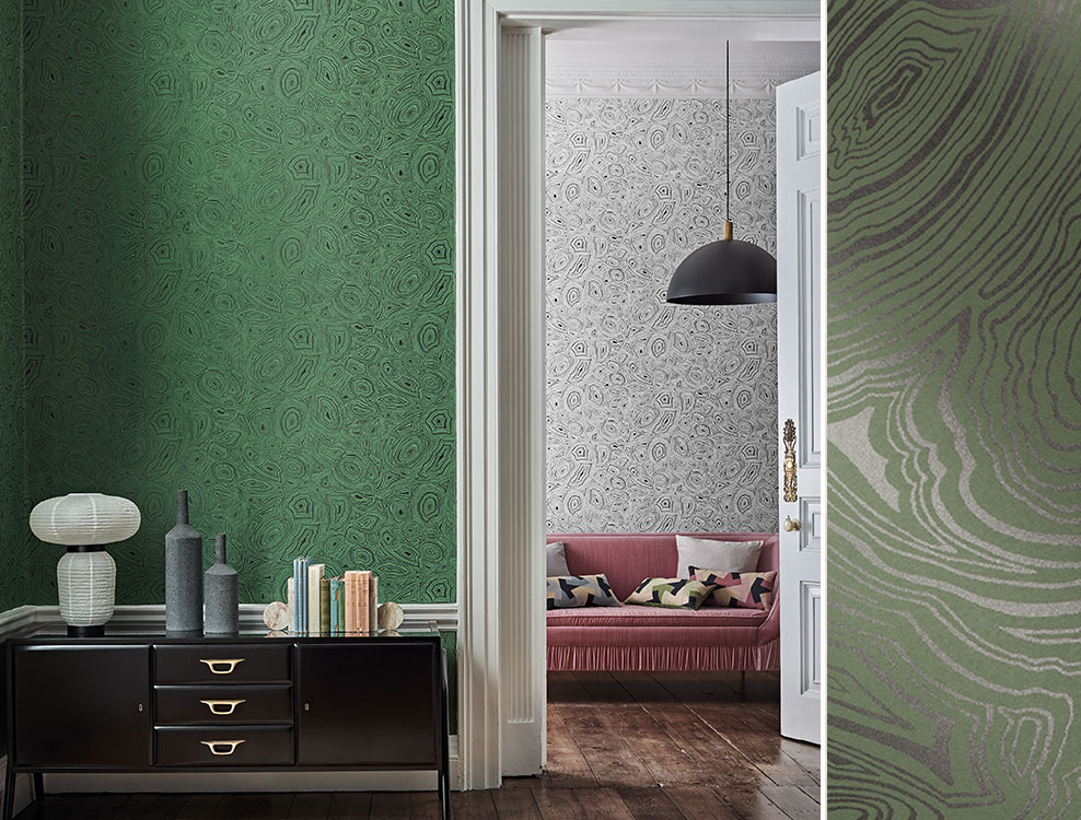 Papier peint Malachite vert et noir - Collection Senza Tempo Fornasetti - Cole and Son - Au fil des Couleurs