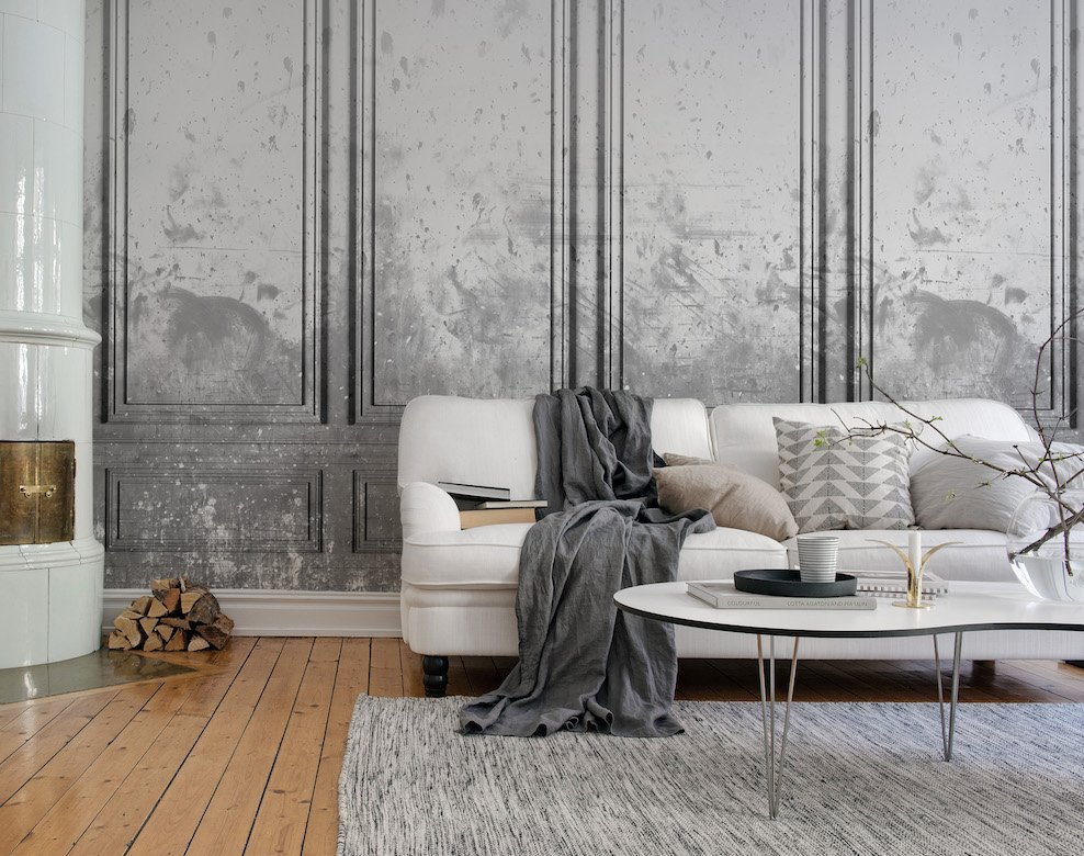 Patinated Panels, smoke - Collection Palette - Rebel Walls