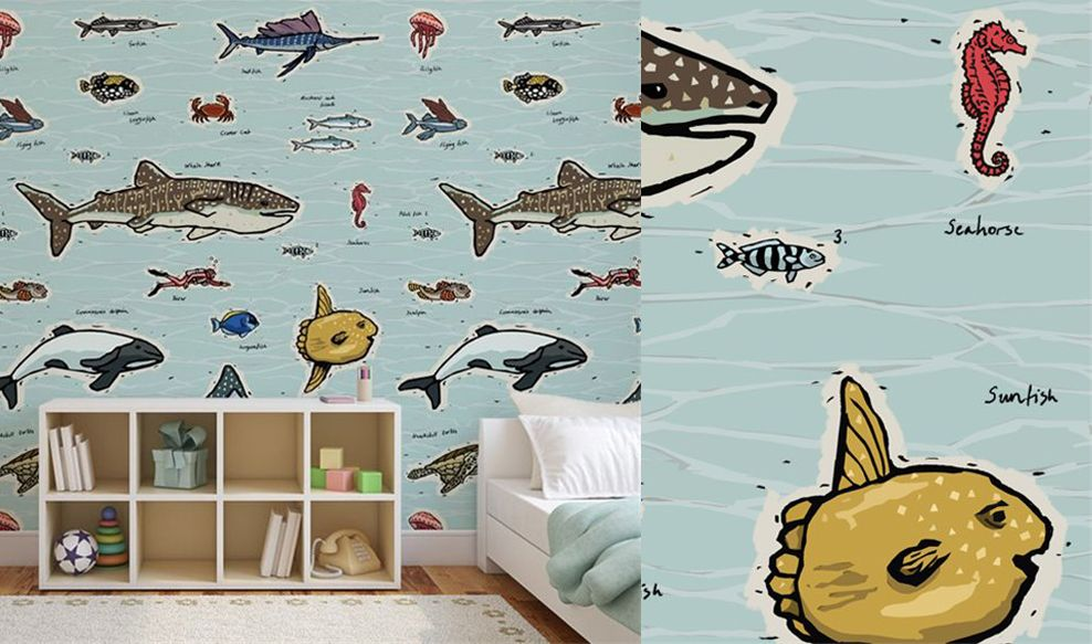 de grands animaux color s dans une chambre d 39 enfant blog au fil des couleurs papiers peints. Black Bedroom Furniture Sets. Home Design Ideas