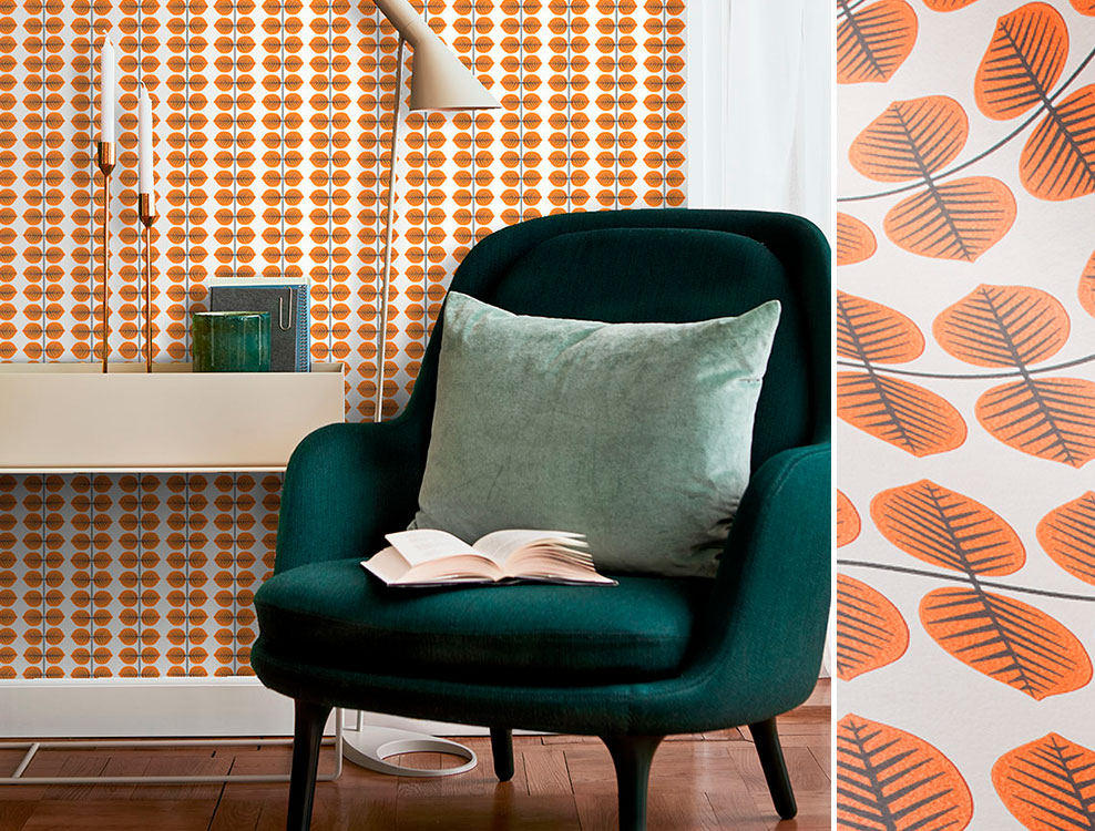 Papier peint Berså orange, collection Scandinavian Designers, Borastapeter - Distribué par Au fil des Couleurs