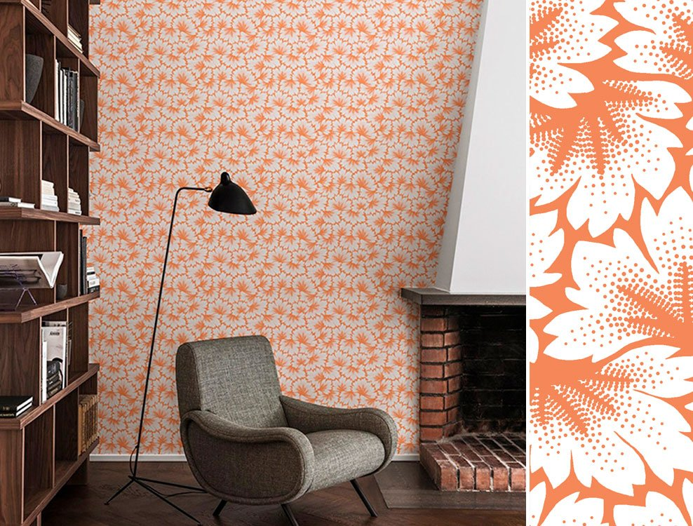 Papier peint Dahlia orange, collection Passé Contemporain, Maison Martin Morel - Disponible chez Au fil des Couleurs
