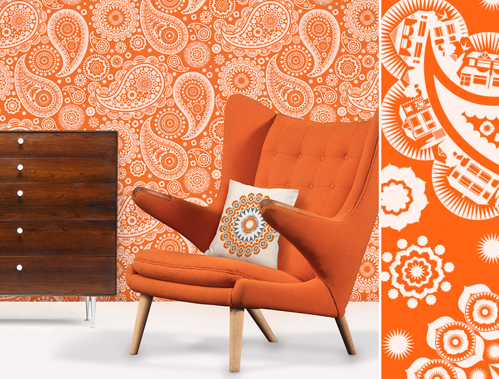 Papier peint Paisley Crescent orange, Mini Moderns - Disponible chez Au fil des Couleurs