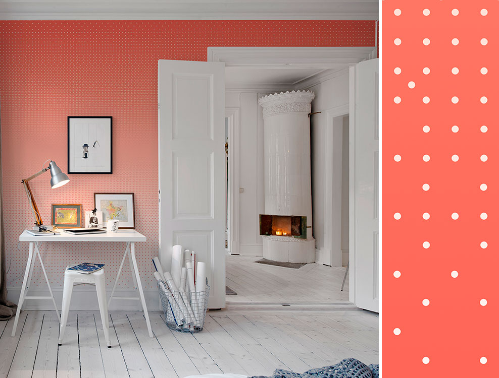 Décor mural géométrique Polka Orange, collection Volume 1, Au fil des Couleurs