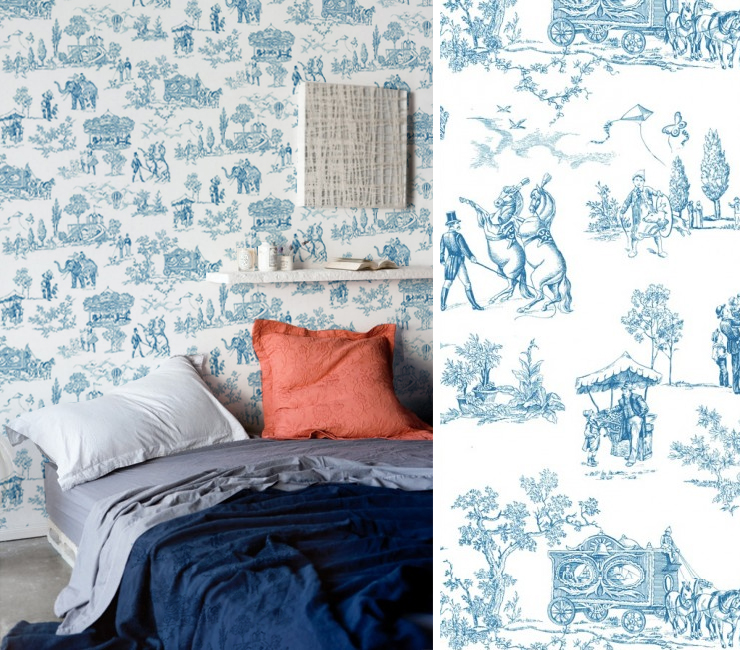 papiers peints toile de jouy pour une chambre blog au. Black Bedroom Furniture Sets. Home Design Ideas