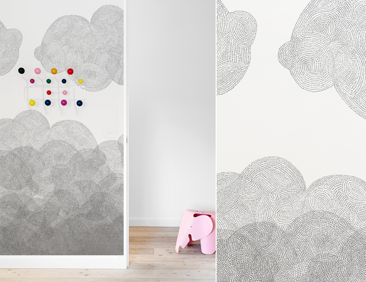 Papier peint nuages cloudy minakani lab with tapisserie for Tapisserie chambre bebe fille