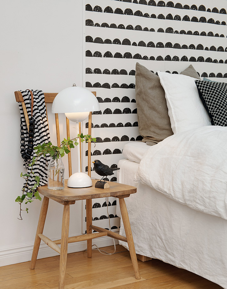papiers peints pour une chambre en noir et blanc blog au. Black Bedroom Furniture Sets. Home Design Ideas