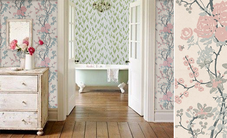 papiers peints pour un couloir shabby chic blog au fil des couleurs papiers peints et d cors. Black Bedroom Furniture Sets. Home Design Ideas